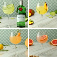 Celebrate World Gin Day this Spring/Summer with these four Tanqueray & tonics with a twist. There's a G&T for everyone! #paidpartnership #Tanqueray #gin #Spring #Summer #brunch #grapefruit #ginandtonic #tonic #cucumber #mango #mint #lime #cantaloupe #raspberry #rosemary #ginger