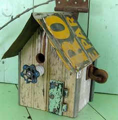 Birdhouses from everyday household items.