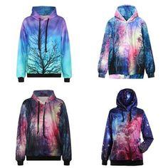 """Harajuku galaxy hooded fleece pullover    Coupon code """"cutekawaii"""" for 10% off"""