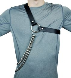 Heavy Metal Chain Black Leather Fashion Harness Gladiator