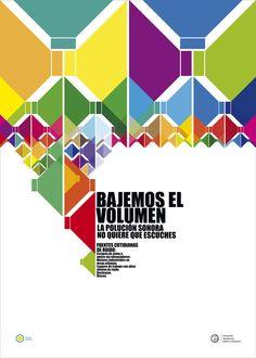DG1, cátedra Mazzeo: afiche sobre polución sonora, teniendo como referente al diseñador brasilero Kiko Farkas, se trata de seguir su lógica o forma de diseño en la producción de la pieza.