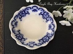 Victorian W.H. Grindley Portman Flow Blue Porcelain Butter Pat/Salt Cellar c1891