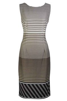 Beige Sleeveless Fitted Striped Dress | Charlotte Gold
