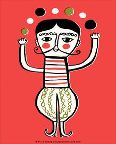 The Juggler  8 x 10 Print by flora chang | HappyDoodleLand on Etsy