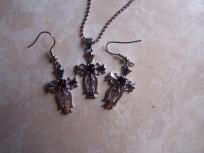 silver and garnet cross necklace earrings set
