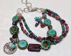 Glass Jewelry, Wire Jewelry, Beaded Jewelry, Glass Beads, Jewelery, Handmade Jewelry, Diy Bracelets Patterns, Diy Beaded Bracelets, Bohemian Bracelets