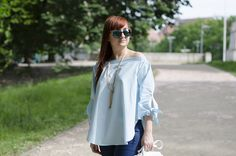 off shoulder blouse  blue blouse sunglasses