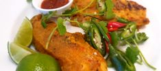 """This tasty twist on a Malay classic translates as 'burnt fish"""" but despite its namesake is a fabulously satisfying, spicy, crispy, tender fish dish you will enjoy again and again. Baked Fish, Fish Dishes, Tandoori Chicken, Spicy, Turkey, Tasty, Asian, Baking, Classic"""