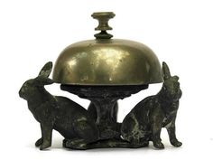 Antique French Hotel Reception Bell with Rabbit by LeBonheurDuJour