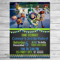 Toy Story Invitation Chalkboard Blue Green // by ItsACowsOpinion