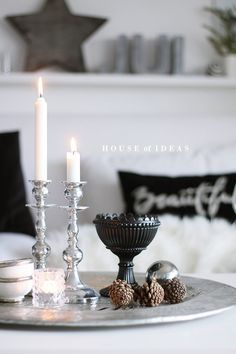HOUSE of IDEAS Coastal Cottage Decorating, Decor, Candle Night, Decorating Coffee Tables, Cottage Decor, Pretty Decor, Silver Coffee Table, Christmas Coffee Table Decor, Christmas Coffee