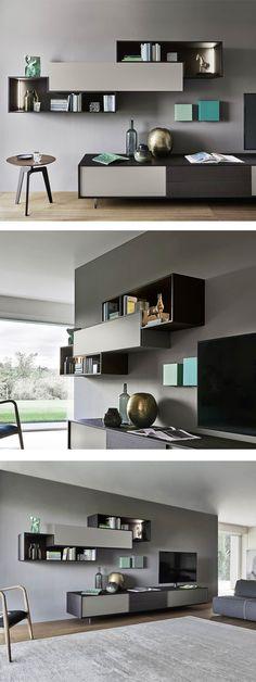 Die Elegante Farbkombination Und Die Offenen Elemente Geben Der Wohnwand  Einen Modernen Touch. #Wohnwand