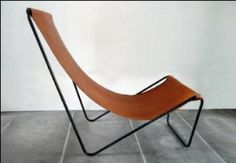 Michael Verheyden - G55 lounge chair made of a bent wire frame with Belgian tanned saddle leather seating