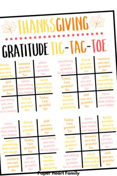 Thanksgiving Tic-Tac-Toe Gratitude Activity For Kids Social Work Activities, Primary Activities, Senior Activities, Counseling Activities, Group Activities, School Counseling, Therapy Activities, Activity Day Girls, Activity Days