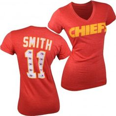 Kansas City Chiefs NFL Alex Smith #11 Womens Name & Number Tri-Blend Ringer T-Shirt (Red) Kansas City Chiefs Apparel, Nfl Shirts, Miami Dolphins, Super Bowl, Sport Outfits, Nike Women, Red, T Shirt, Jackets
