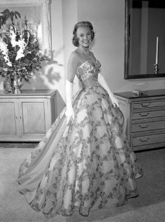 June Allyson in beautiful gown...love old Hollywood gowns...
