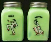 """Mexican Dancers Jadeite Green Milk Glass Salt & Pepper Shaker Set by Trail Town Finds. $19.20. Solid Green Milk Glass Jade Jadiete. Measures 3 3/4"""" tall.  Grip Nicely as they are square with fantastic arch designs on the sides.  Shiny metal tops and Fantastic Graphics that are hand fired on in Pennsylvania."""