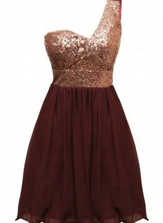 Wine Color One Shoulder Dress with Sequin TopChiffon Skirt,  Dress, one shoulder  sequin embellished, Chic