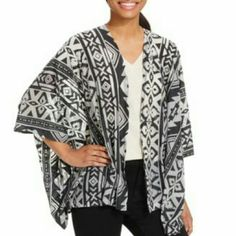"Steve Madden So-Cal Cover Up Black and white trendy cover up has a cocoon fit that's just right for layering your favorite tops. Measures 24"" x 44"". Polyester/cotton blend. Steve Madden Accessories Scarves & Wraps"