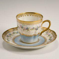 Haviland Limoges Fine Porcelain Harlequin Tea Set 6 Six Demitasse Cups & Saucers