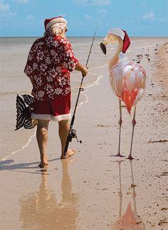 Santa and Flamingo Boxed Christmas Cards Tropical Christmas, Beach Christmas, Coastal Christmas, Merry Christmas, Christmas Cats, Christmas Ideas, Flamingo Craft, Flamingo Decor, Pink Flamingos