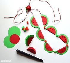 Zomerse watermeloenketting van papier - Moodkids | Moodkids