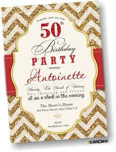 30th 40th 50th 60th 70th 80th birthday Invitation. by 800Canvas