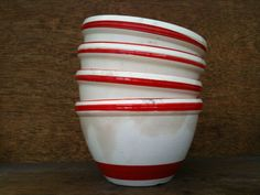 Vintage English Red and White Kitchen Bowls by EnglishShop on Etsy, $59.00