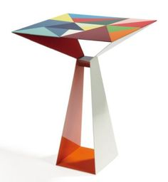"MARCO ZANUSO JR. (BORN IN 1954)  Limited Edition Pedestal ""T07"" steel table laser cut, folded pressure welded and painted cold. Policromi collection. Limited Edition, No. 5/6. 2006. H_80 L_60 cm cm cm P_60"