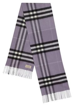 11547933ea3 Burberry Lilac Purple Giant Check Cashmere Fringed New Scarf Wrap 32% off  retail