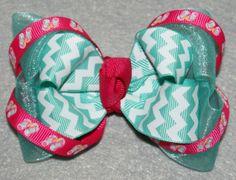 Flip Flop Chevron Summer  Boutique Hair Bow OTT by JadyBugBows, $4.50