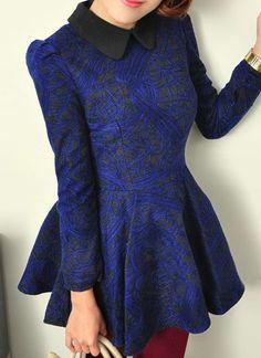 Blue Lapel Long Sleeve Embroidery Ruffles Dress