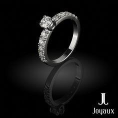 Diamond Side Stones Ring (0,83 ct.tw.) in White Gold 18k Stone Rings, Natural Gemstones, Jewelry Making, White Gold, Wedding Rings, Engagement Rings, Diamond, Enagement Rings, Diamonds