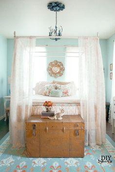 blue orange and gold eclectic guest bedroom at diyshowoff.com