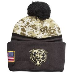 Chicago Bears 2016 Salute to Service Knit Pom Hat by New Era  Chicago  Bears 6a8b30c8cc2