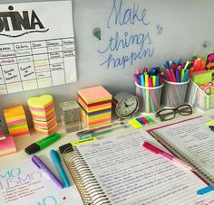 Glass board- creativ e idea! The quote 'Make things happen' is one to remember too Study Desk, Study Space, School Motivation, Study Motivation, Homework Motivation, College Organization, University Organization, Pretty Notes, Study Hard