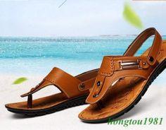 Faux Leather Flip Flop Summer Beach Sandals Slipper 4Colors Mens College Shoes