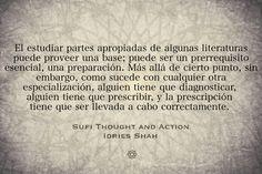 El estudiar partes apropiadas de algunas literaturas puede proveer una base; puede ser un prerrequisito esencial, una preparación. Más allá de cierto punto, sin embargo, como sucede con cualquier otra especialización, alguien tiene que diagnosticar, alguien tiene que prescribir, y la prescripción tiene que ser llevada a cabo correctamente.   Sufi Thought and Action (Pensamiento y acción Sufi) http://idriesshahfoundation.org/es/libros/pensamiento-y-accion-sufi/