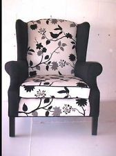Black and White Newly Reupholstered Wing Back Chair