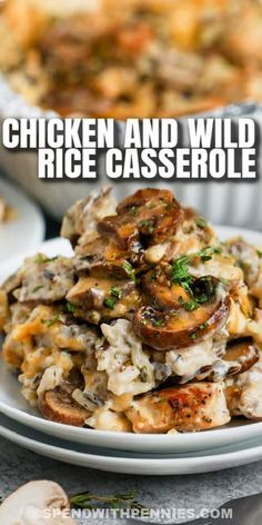 Baked chicken & wild rice casserole is creamy & cheesy! Made with sour cream, mushroom soup, & cheddar cheese, this recipe has all the classic favorites that make a casserole delicious! #spendwithpennies #chickenandwildricecasserole #recipe #casserole #chickencasserole #wildrice #maindish #creamy #easy #mushroomsoup #chickenandrice Chicken Wild Rice Casserole, Chicken And Wild Rice, Easy Casserole Recipes, Casserole Dishes, Tamale Casserole, Easy Cooking, Cooking Recipes, Mushroom Soup, Yummy Chicken Recipes