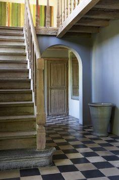Worn & bare oak stairs - great patina.  Railing
