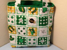 St Patrick's Day Fabric Gift Tote Bag Gift Wrap by HugsandHolidays - SOLD
