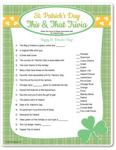 Day Clover Place CardsGreen trivia for trivia parties and St. Day Dies & The TriviaSt. Patrick & s Day Crafts & ActivitiesUse wooden St Patricks Day Crafts For Kids, St Patrick's Day Crafts, March Crafts, Scentsy, St Patrick's Day Trivia, Sant Patrick, St Patrick's Day Games, Senior Activities, Halloween Activities