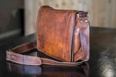 High On Leather Vintage Brown Messenger Bag Review — $85