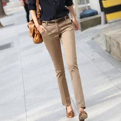 Khaki pants, navy blue button up, brown flats