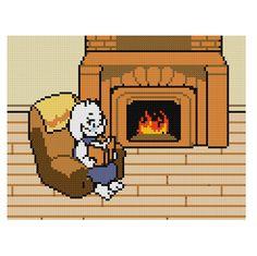 Free Toriel's Reading Chair Cross Stitch Pattern Undertale by Cross Stitch Quest