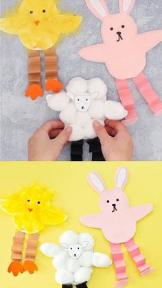 Get the printable template to make these cute Easter Friends! Adorable for kids to make as Easter cards. A fun bunny, chick and sheep paper craft. rabbit template paper crafts EASTER BUNNY CHICK AND SHEEP CRAFT Easter Arts And Crafts, Easter Crafts For Toddlers, Spring Crafts For Kids, Easter Activities, Craft Projects For Kids, Crafts For Kids To Make, Toddler Crafts, Preschool Crafts, Kids Crafts
