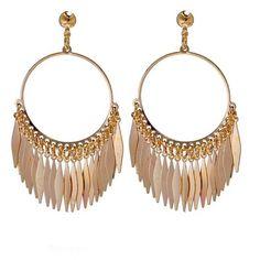 Women Vintage Boho Gold Meatal Tassel Stud Earrings (5.190 CLP) ❤ liked on Polyvore featuring jewelry, earrings, vintage jewelry, boho jewellery, tassle earrings, boho jewelry and vintage gold jewelry