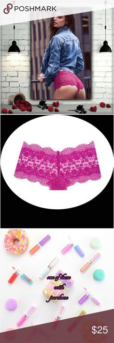 Victoria's Secret 💞Sexy Luv....💞 Body by Victoria collection; berry diva in color; allover crochet lace; mid rise; full back coverage: shows curves, not skin; nylon/spandex🎁 One Maybelline Baby Lipgloss/Lip Balm with this purchase. Eye-It...Buy-It✌🏾️ Victoria's Secret Intimates & Sleepwear Panties