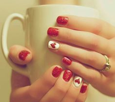 75 Best Valentine's Day Nail Designs You Will Love Update) Simple Valentine Nail Designs - Red and White Nail Colors - The Best Valentines Nail Designs - Easy and Cute Valentines Day Nails, Heart Nail Designs and Nail Color Ideas Fancy Nails, Love Nails, Pretty Nails, My Nails, Heart Nail Designs, Valentine's Day Nail Designs, Fingernail Designs, Red And White Nails, Valentine Nail Art